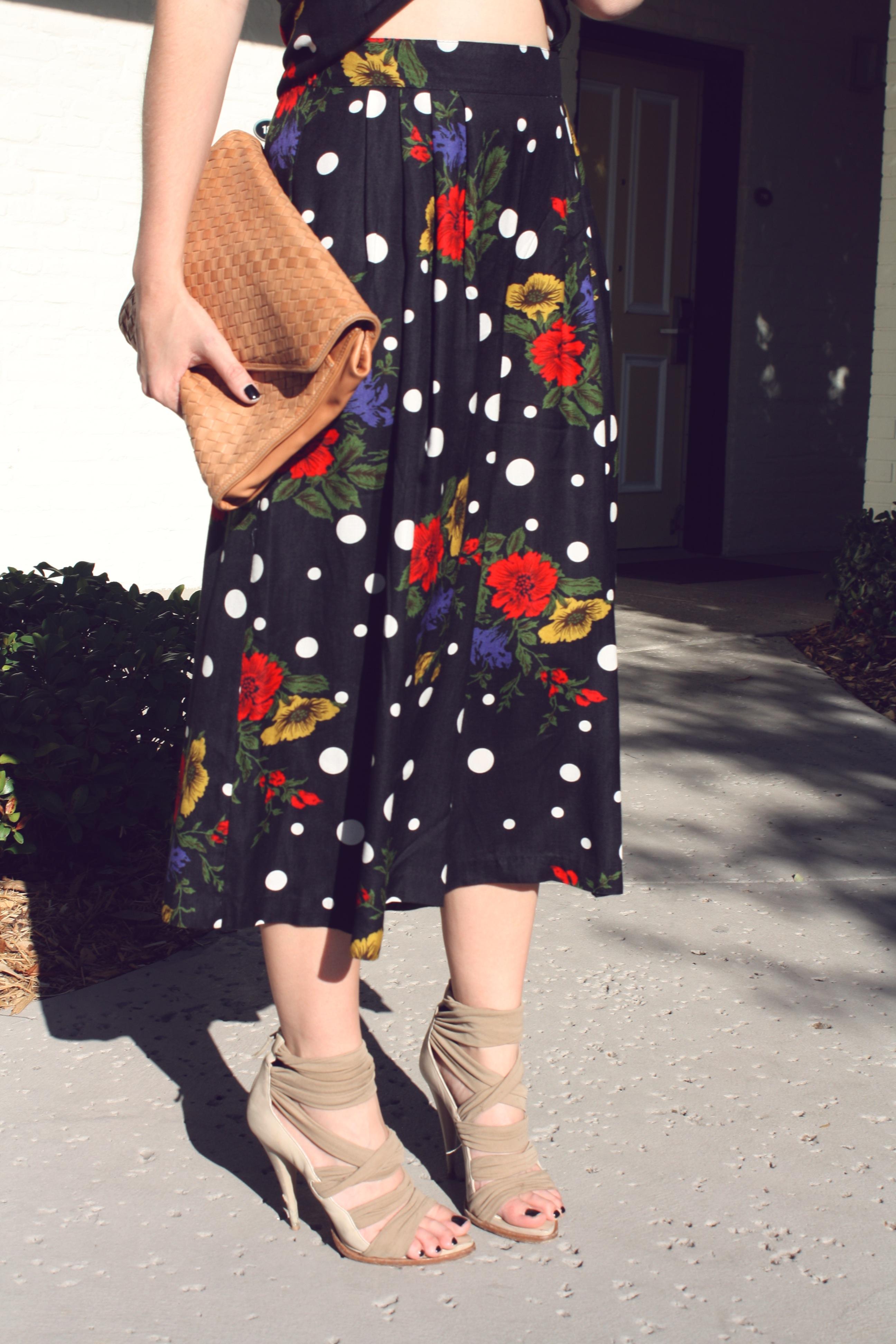 Floral and polka dot pants